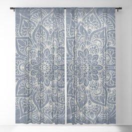 Boho Mandala, Flower, Navy Blue Sheer Curtain