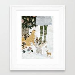 Christmas tree decorating Framed Art Print