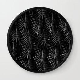Palm Leaves Pattern - Black Night #1 #tropical #decor #art #society6 Wall Clock