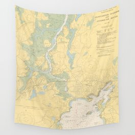 Vintage Map of Gloucester MA (1949) Wall Tapestry