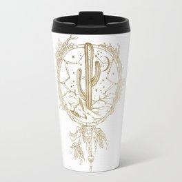 Desert Cactus Dreamcatcher in Gold Travel Mug