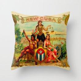 Vintage Cigar Box Art - New Cuba Throw Pillow