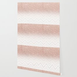 Modern faux rose gold glitter ombre modern chevron stitches pattern Wallpaper