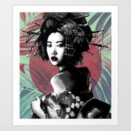Geisha and Full Moon Art Print