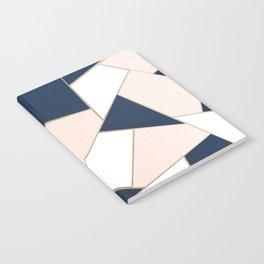Navy Blue Blush White Gold Geometric Glam #1 #geo #decor #art #society6 Notebook
