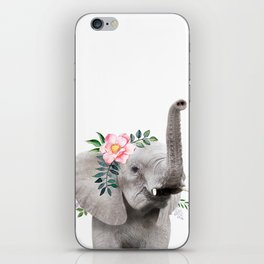Baby Elephant with Flower Crown iPhone Skin