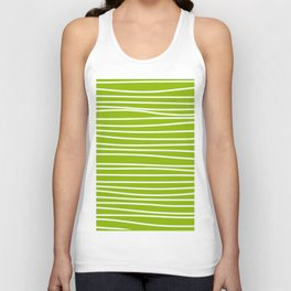 Apple Green & White Maritime Hand Drawn Stripes- Mix & Match with Simplicity of Life Unisex Tank Top