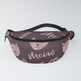 Meow Cute Rose Gold Purple Glitter Cats Typography Fanny Pack