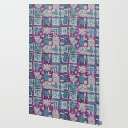 Tile Tie Dye Blue Green Purple Wallpaper