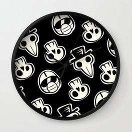 Pandemic Pattern - History Repeats (Black & White) Wall Clock