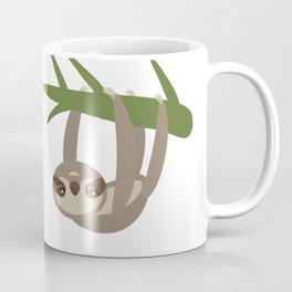 Three-toed sloth on green branch on white background Coffee Mug