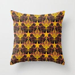 Starfire Kaleidoscope (Glowing Embers of the Sun) Throw Pillow