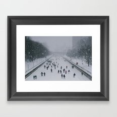 Skaters on the canal Framed Art Print