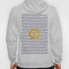 Marine pattern - Navy blue white striped with golden wheel Hoody