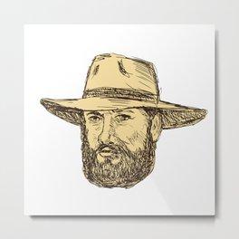 Bearded Cowboy Head Drawing Metal Print