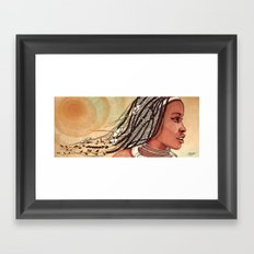 Wind in her hair Framed Art Print