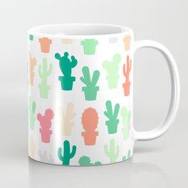 Pastel Green and Peach Cactus Print Coffee Mug