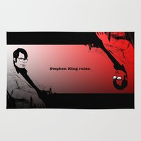 stephen king Area & Throw Rugs featuring Stephen King Rules by Hazel Bellhop