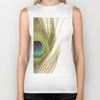 peacock feather Biker Tanks featuring Peacock Feather by Kimberly Blok