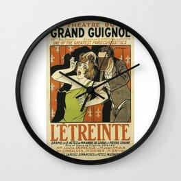 Le Étreinte, Theatre du Grand Guignol, vintage poster Wall Clock