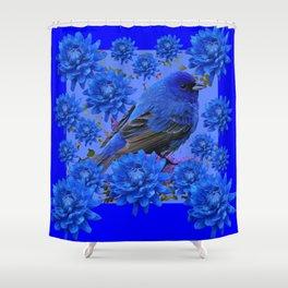 Blue Bird & Blue Flowers Pattern Art Shower Curtain