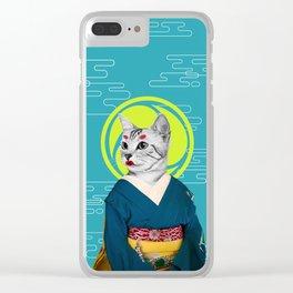 Geisha Cat Clear iPhone Case