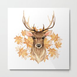 Watercolor Foliage Deer Metal Print