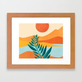 Mountain Sunset / Abstract Landscape Illustration Framed Art Print
