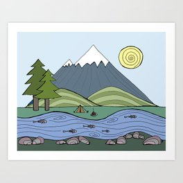 Camping in the Forest  Art Print