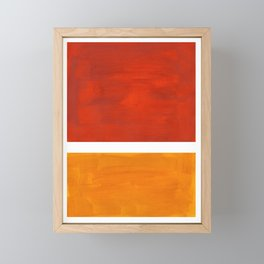 Burnt Orange Yellow Ochre Mid Century Modern Abstract Minimalist Rothko Color Field Squares Framed Mini Art Print