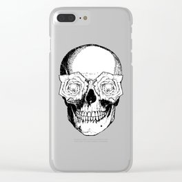 Skull and Roses | Skull and Flowers | Vintage Skull | Black and White | Clear iPhone Case