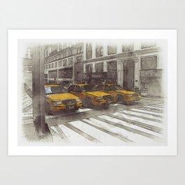 NYC Yellow Cabs Radio Shack - SKETCH Art Print