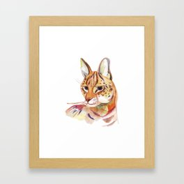 Serval wild cat watercolor Framed Art Print
