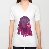 the walking dead V-neck T-shirts featuring THE WALKING DEAD - Michonne by Mike Wrobel