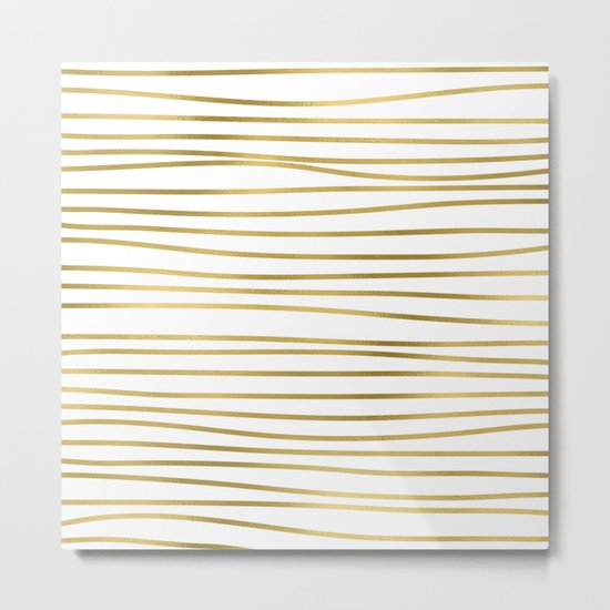 Small uneven gold glitter stripes on clear white - horizontal pattern on #Society6 Metal Print
