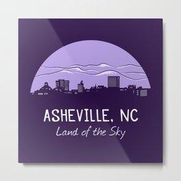 Asheville Cityscape - Land of the Sky - AVL 7 Purple Metal Print