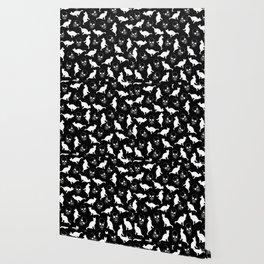 Skulls, Cats, Black and White, Pattern Wallpaper