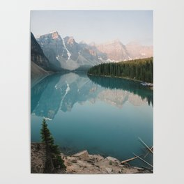 Pastel Sunrise over Moraine Lake Poster