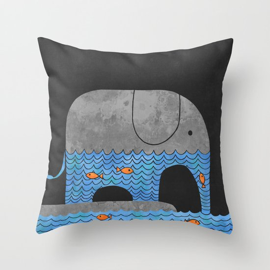 Thirsty Elephant  Throw Pillow
