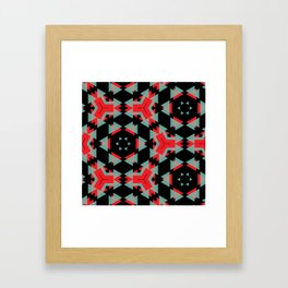 Red Grey Black Triangle Pattern Framed Art Print