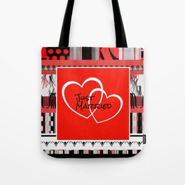 just Married Hearts red pattern II Tote Bag