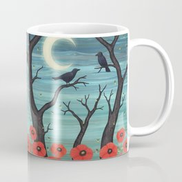 crows, fireflies, and poppies in the moonlight Coffee Mug