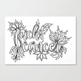 Fuck Cancer Adult Coloring, Sweary Adult Coloring Canvas Print
