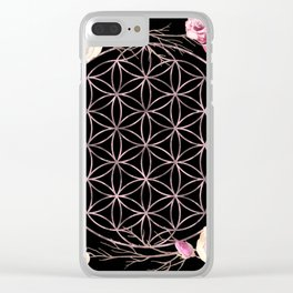 Flower of Life Rose Gold Garden on Black Clear iPhone Case