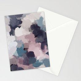 Teal Indigo Lavender Abstract Wall Art, Feminine Painting Print, Modern Wall Art Stationery Cards