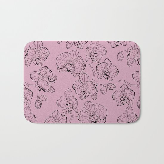 Retro . Orchid flowers on a pink background . Bath Mat