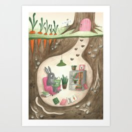 Bunny reading Library Art Print