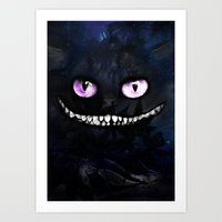 cheshire cat Art Prints featuring CHESHIRE by Julien Kaltnecker