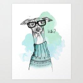 Funny Greyhound Art Print