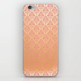 Modern vintage pink faux gold floral damask iPhone Skin